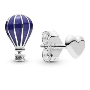 🔥Pandora🔥 Blue Hot Air Balloon & Heart Earrings